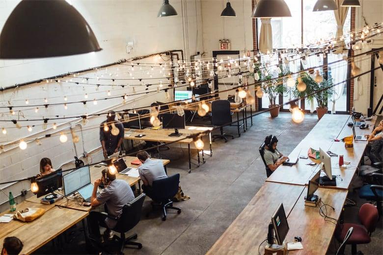 A socially distanced shared office