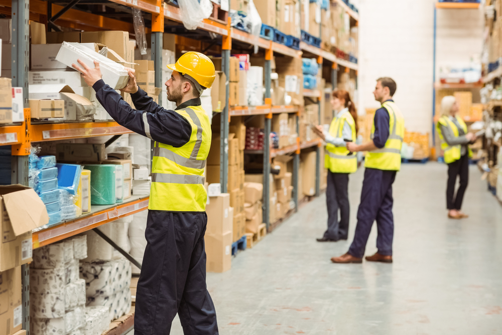 Busy warehouse aisle that needs some social distancing